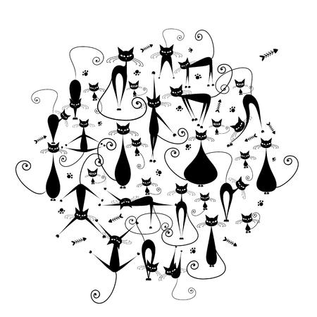 Black cats family, silhouette for your design Standard-Bild - 105839686