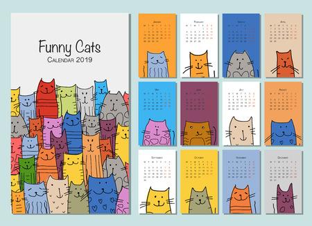 Funny cats. Design calendar 2019. Vector illustration
