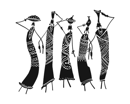 African women with jugs, ornate sketch for your design Фото со стока - 105839688