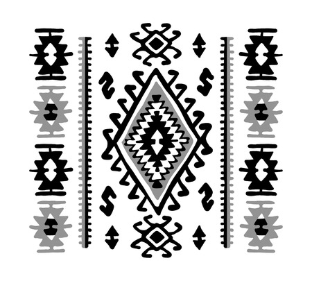 Oriental mosaic rug with traditional folk geometric ornamen. Seamless pattern Illustration
