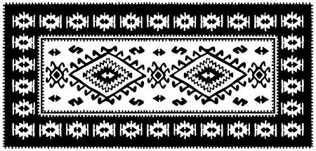 Black oriental mosaic rug with traditional folk geometric ornamen