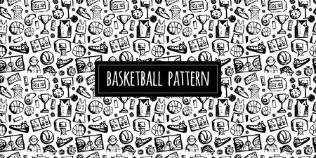 Basketball seamless pattern, sketch for your design