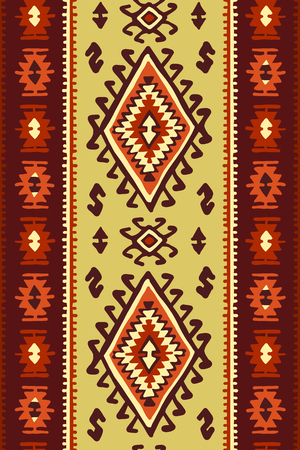Oriental mosaic rug with traditional folk geometric ornamen. Seamless pattern Stok Fotoğraf