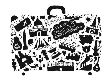 Travel to Saint Petersburg, sketch for your design. Vector illustration Illustration