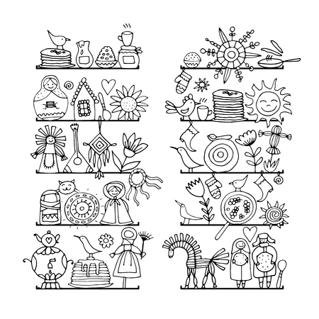Maslenitsa or Shrovetide. Icons set for your design. Vector illustration Standard-Bild - 111493286