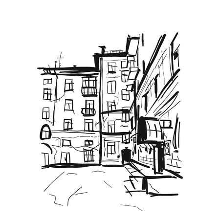 Old apartment house, sketch for your design Stok Fotoğraf - 107279508