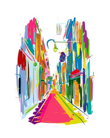 Old european street, sketch for your design. Vector illustration Ilustração