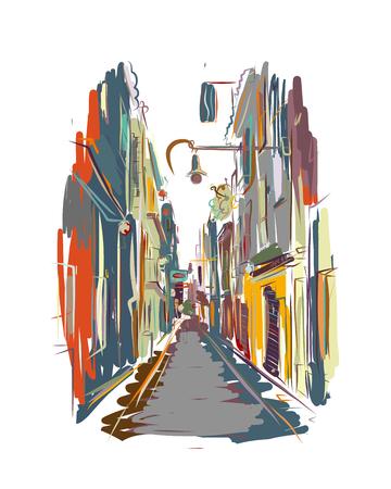 Old european street, sketch for your design. Vector illustration Stock Illustratie