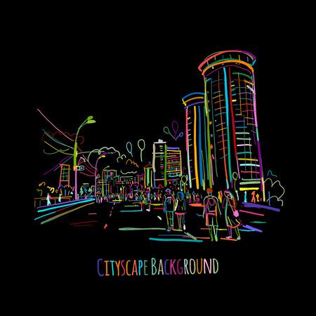 Sketch of city street for your design. Vector illustration