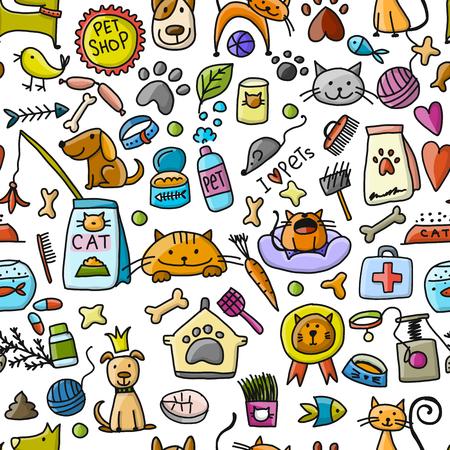 Pet shop background for your design. Vector illustration Archivio Fotografico - 107263719