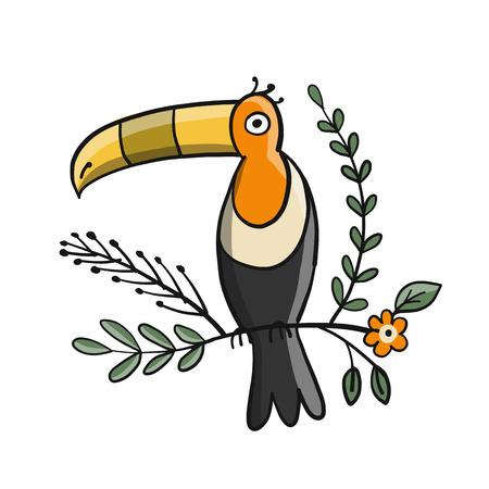 Toucan, paradise tropical bird for your design. Vector illustration