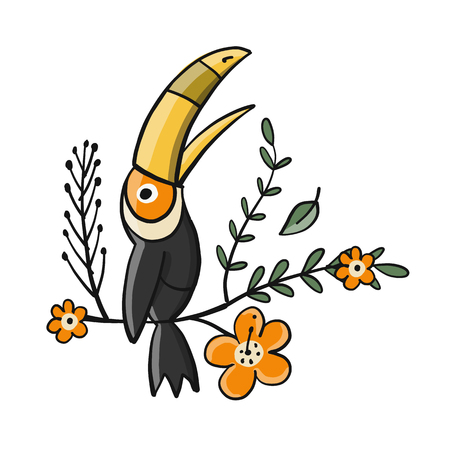 Toucan, paradise tropical bird for your design. Vector illustration