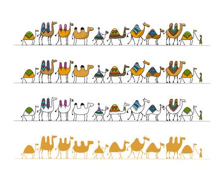 Camels caravan, sketch for your design. Vector illustration