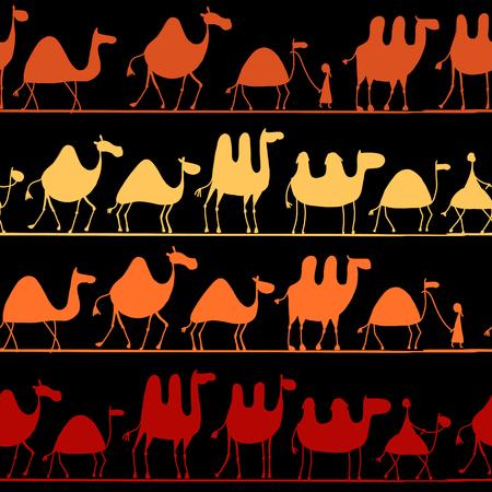 Camels caravan, seamless pattern for your design. Vector illustration Foto de archivo - 110475048