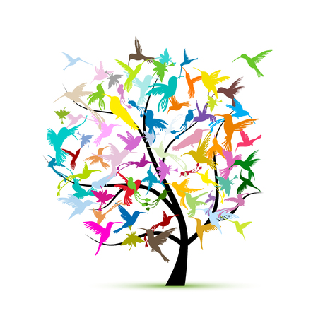 Hummingbird tree, sketch for your design. Vector illustration
