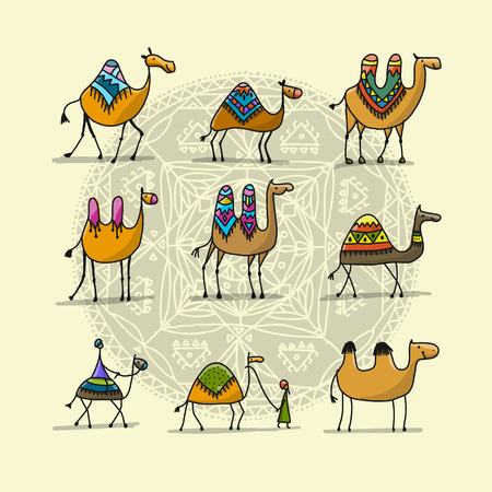 Camels collection, sketch for your design. Vector illustration Ilustração