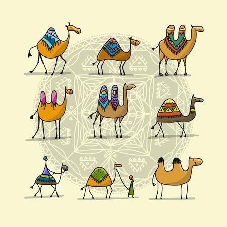Colección de camellos, boceto de su diseño. Ilustración vectorial