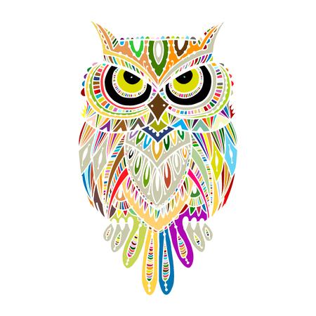 Ornate owl, zenart for your design. Vector illustration