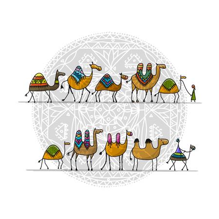 Kamele Wohnwagen, Skizze für Ihr Design. Vektorillustration