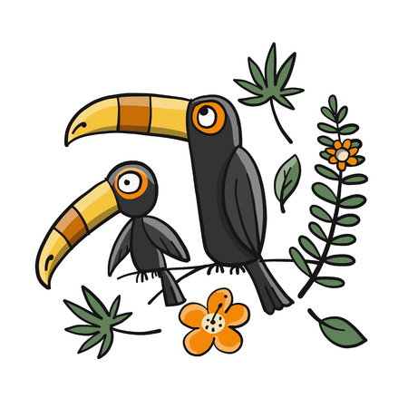 Toucans, paradise tropical bird for your design. Vector illustration