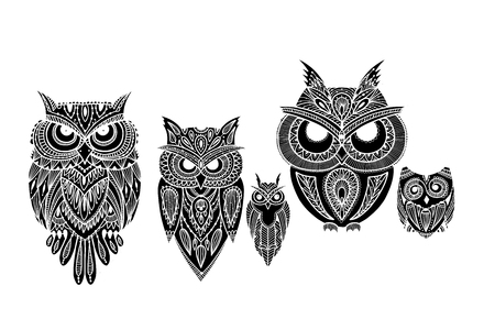 Ornate owl, zenart for your design. Vector illustration