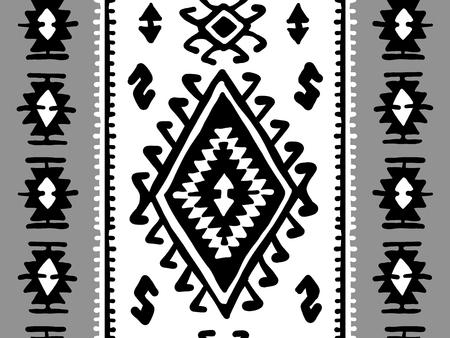 Oriental mosaic rug with traditional folk geometric ornamen. Seamless pattern. Vector illustration Illustration