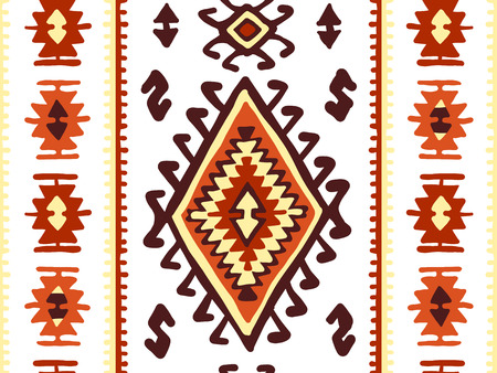 Oriental mosaic rug with traditional folk geometric ornamen. Seamless pattern. Vector illustration Illustration