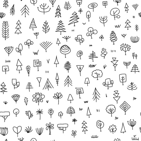 Seamless pattern with trees, sketch for your design Banque d'images - 107603939