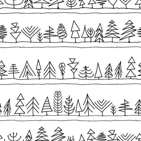 Seamless pattern with trees, sketch for your design Banque d'images - 107603941