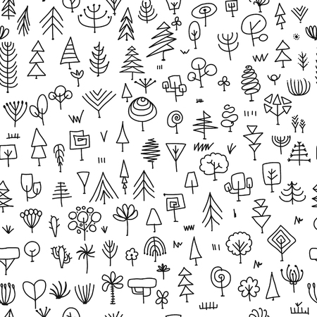 Seamless pattern with trees, sketch for your design Banque d'images - 107603940