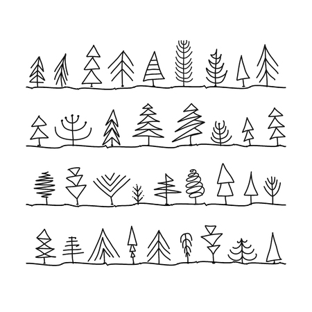 Abstract trees collection, sketch for your design Banque d'images - 107603946