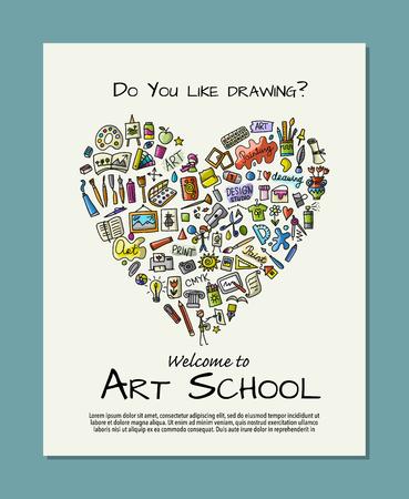 Banner for art school for your design, sketch for your design Vector Illustration
