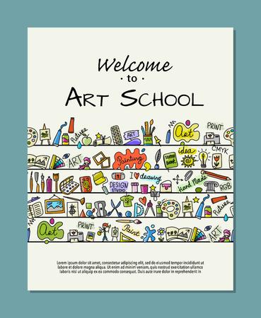Banner for art school. Concept tree for your design Stock Illustratie