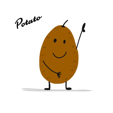 Funny smiling potato, character for your design 일러스트