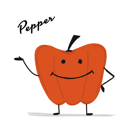 Funny smiling paprika, character for your design Иллюстрация