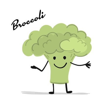 Funny smiling brocolli, character for your design