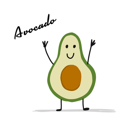 Funny smiling avocado, character for your design