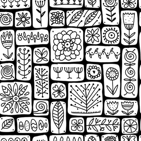 Ethnic floral wall, seamless pattern for your design. Vector illustration