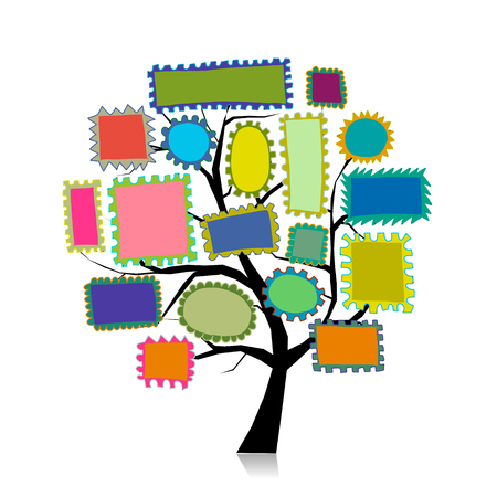 Post stamp tree for your design. Vector illustration