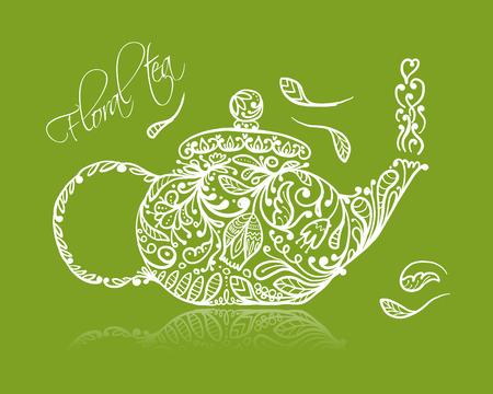 Croquis de théière avec du thé vert pour votre conception