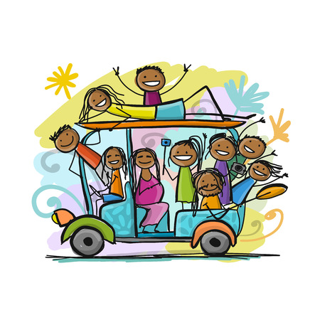 Tuk-tuk with company of friends goes to surfing. Vector illustration