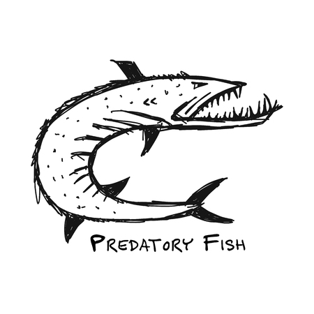 Barracuda fish for your design, vector illustration. 版權商用圖片 - 107862299