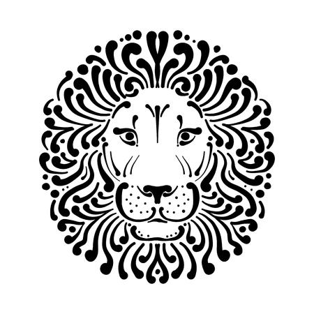 Lion face logo, sketch for your design, vector illustration.