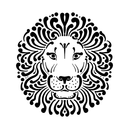 Lion face logo, sketch for your design, vector illustration. Foto de archivo - 107862307