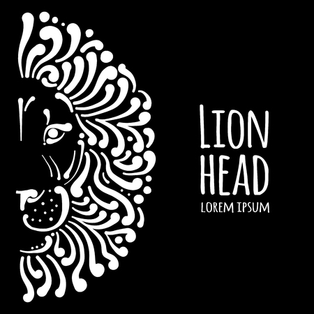 Lion face logo, sketch for your design, vector illustration.