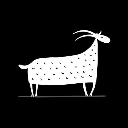 Funny goat, simple sketch for your design, vector illustration.