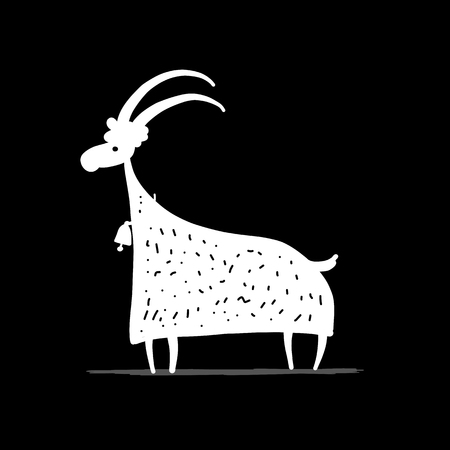 Funny goat, simple sketch for your design, vector illustration.