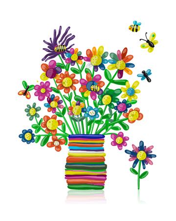 Floral bouquet in vase, plasticine sketch for your design Ilustração