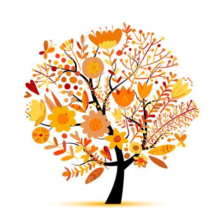 Árbol floral, colores otoñales. Boceto para su diseño