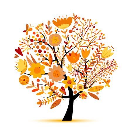 Floral tree, autumn colors. Sketch for your design